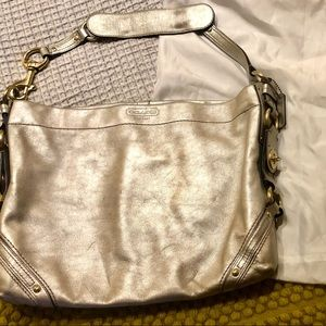 Silver metallic Coach purse